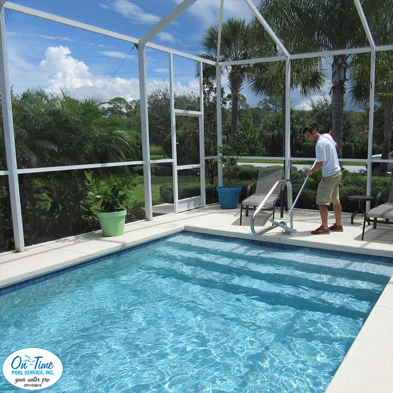 On-Time Pool Cleaners in Action at One Sarasota Home